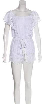 Miguelina Embroidered High-Rise Romper