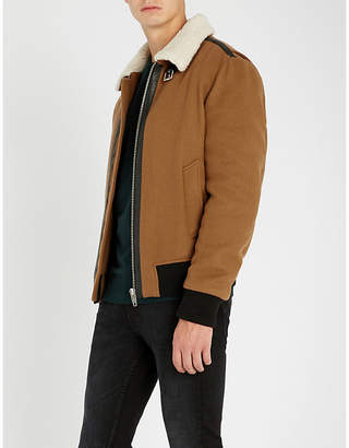 The Kooples Padded wool-blend and faux-shearling jacket
