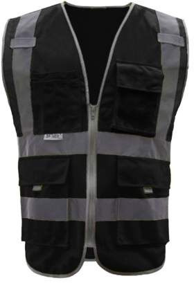Gogo GOGO 8 Pockets High Visibility Zipper Front Safety Vest With Reflective Strips, Meets ANSI Standards-Black-XL