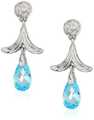 Nicole Miller Briolette Petal Rhodium/Blue Drop Earrings