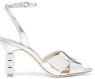 Sophia Webster Natalia Crystal-embellished Metallic Leather Sandals - Silver