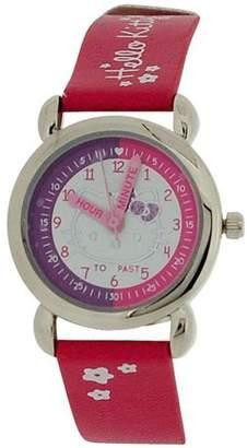 Hello Kitty Girls Analogue Time Teacher Dial Hot Pink PU Strap Watch HK024
