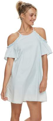 Juniors' Lily Rose Ruffle Cold Shoulder Dress
