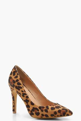 boohoo Extra Wide Fit Leopard Pointed Court Shoes
