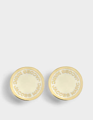 At Monnier Frères Marc Jacobs Logo Disc Studs In Cream Br