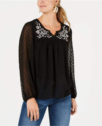 Style&Co. Style & Co Floral-Embroidered Clip-Dot Top, Created for Macy's