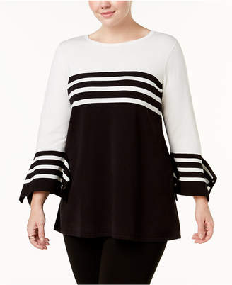 Alfani Plus Size Striped Colorblocked Sweater, Created for Macy's