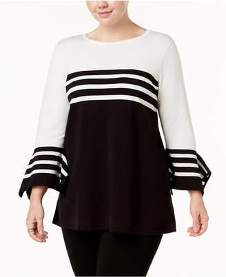 Alfani Plus Size Striped Colorblocked Sweater
