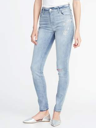 Old Navy Mid-Rise Floral-Embroidered Rockstar Super Skinny Jeans for Women