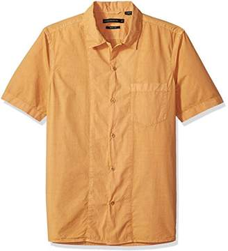 French Connection Men's Overdyed Poplyn Short Sleeve Button Down Shirt