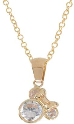 Disney Mickey Mouse 10kt Yellow Gold Crystal Pendant, 18""