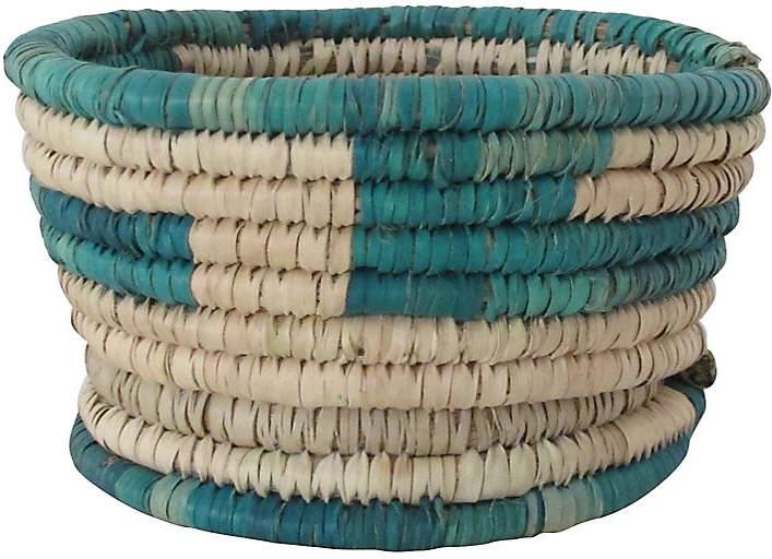 Turquoise Block Basket with Base