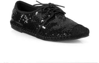 Nature Breeze Lace up Women's Sequin Espadrille Flats in Black