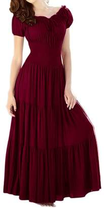 Peach Couture Gypsy Boho Cap Sleeves Smocked Waist Tiered Renaissance Maxi Dress ( M)