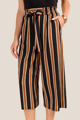 francesca's Sunnie Striped Culotte Pants - Black