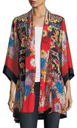 Johnny Was Mishka Rose Embroidered Silk Kimono, Plus Size