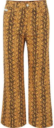 ALEXACHUNG Cropped Snake-print High-rise Wide-leg Jeans