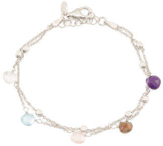 Made In Italy Sterling Silver Multi Gemstone Bracelet