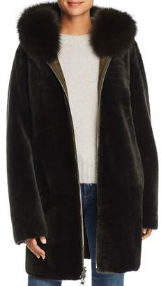 Maximilian Furs Reversible Lamb Shearling Coat with Fox Fur Trim - 100% Exclusive