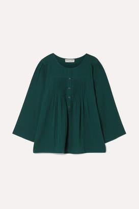 Apiece Apart Las Damas Pintucked Crinkled Cotton-gauze Blouse - Emerald