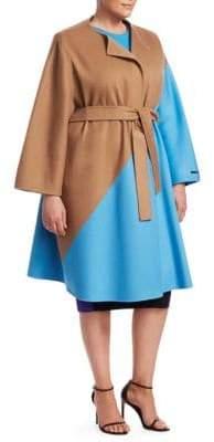 Fausto Puglisi Marina Rinaldi, Plus Size Marina Rinaldi, Plus Size Women's x Marina Rinaldi Telefilm Wool Colorblocked Coat - Camel - Size 20W