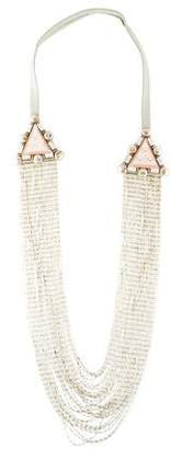 Ranjana Khan Crystal & Leather Multistrand Necklace