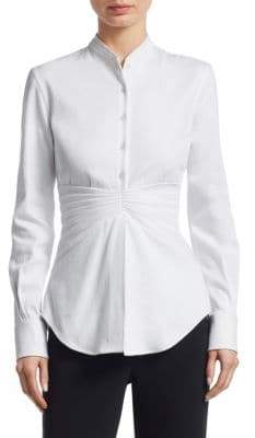 Brandon Maxwell Mirror-Pleat Button-Down Shirt
