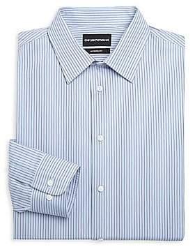 Emporio Armani Men's Modern Fit Cotton Striped Dress Shirt