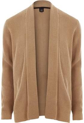River Island Mens Light Brown open front rib knit cardigan