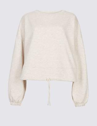 Limited Edition Cotton Blend Cropped Sweatshirt