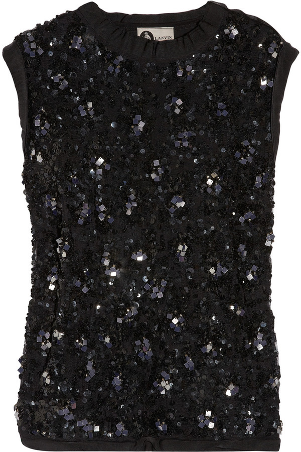 Lanvin Sequined tulle and jersey top