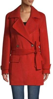 Halston Self-Tie Double-Breasted Coat