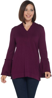 Isaac Mizrahi Live! V-Neck Sweater with Pleated Bell Sleeves