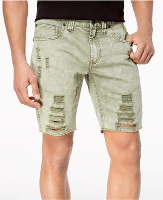 INC International Concepts I.N.C. Men's Olive Shredded Shorts, Created for Macy's