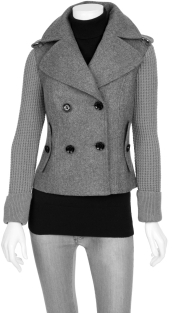 Cropped Knit Sleeve Peacoat