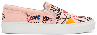 Kenzo Pink Limited Edition 'I Love You' K-Skate Slip-On Sneakers $175 thestylecure.com