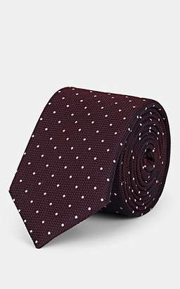 Barneys New York Men's Dot-Print Silk Jacquard Necktie - Wine