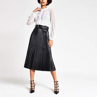 River Island Black pleated faux leather midi skirt
