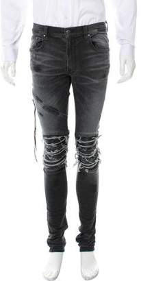 Amiri Leather-Accented Skinny Jeans w/ Tags