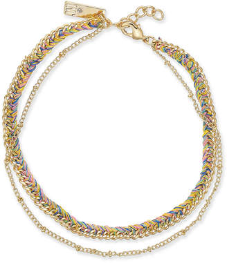 INC International Concepts I.n.c. Gold-Tone Cotton Threaded Layered Anklet, Created for Macy's