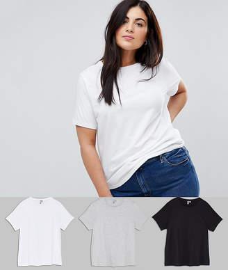 Asos DESIGN Curve Ultimate Crew Neck T-Shirt 3 Pack