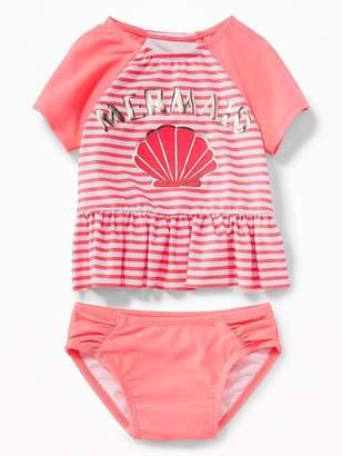 "Old Navy ""Mermaid"" Peplum-Rashguard Swim Set for Toddler Girls"