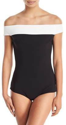 Chiara Boni Ellyn Off-the-Shoulder Colorblock One-Piece Swimsuit