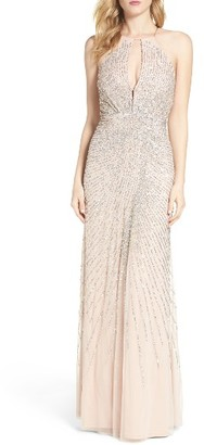 Women's Adrianna Papell Beaded Mesh Fit & Flare Gown $349 thestylecure.com