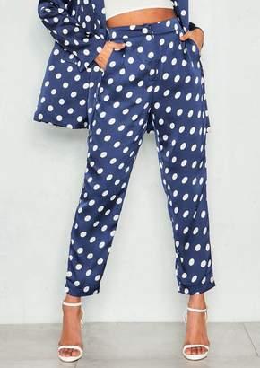 Missy Empire Missyempire Thelma Navy Polkadot Satin Trousers