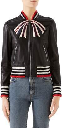 Gucci Trompe L'Oeil Bow Nappa Leather Bomber Jacket