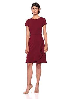 Adrianna Papell Women's Knit Crepe Jewel Neckline Dress with Ruffle Details