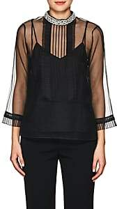 Marc Jacobs WOMEN'S EMBELLISHED-COLLAR ORGANZA BLOUSE-BLACK SIZE 2