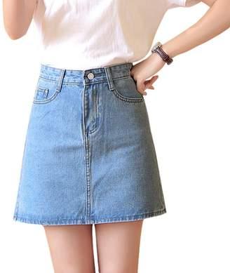 Drasawee Women's A Line High Waist Denim Skirt Mini Short Dress L