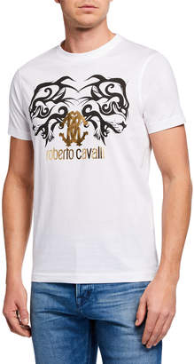 Roberto Cavalli Men's Metallic Logo Graphic T-Shirt